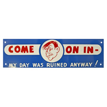 Mid-Century NOS Come On In Sign in Blue c1965