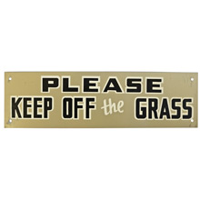 Mid-Century NOS Keep Off The Grass Sign in Silver c1965