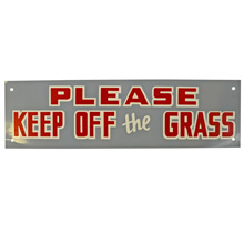 Mid-Century NOS Keep Off The Grass Sign in Grey c1965