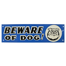 Mid-Century NOS Beware of Dog Sign in Blue c1965