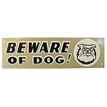 Mid-Century NOS Beware of Dog Sign in Silver c1965
