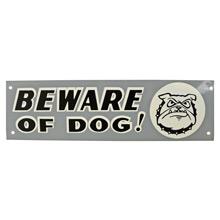 Mid-Century NOS Beware of Dog Sign in Grey c1965