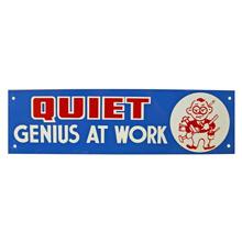 Mid-Century NOS Genius at Work Sign in Blue c1965