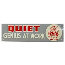 Mid-Century NOS Genius at Work Sign in Grey c1965