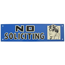 Mid-Century NOS No Soliciting Sign in Blue c1965