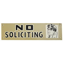 Mid-Century NOS No Soliciting Sign in Silver c1965