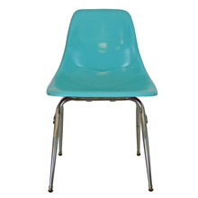 Bright Blue Fiberglass Shell Chair W/ Chrome Base C1960