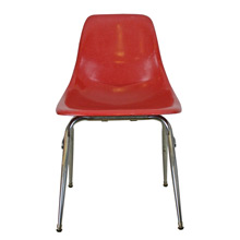 Bright Red Fiberglass Shell Chair W/ Chrome Base C1960