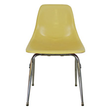 Bright Yellow Fiberglass Shell Chair W/ Chrome Base C1960