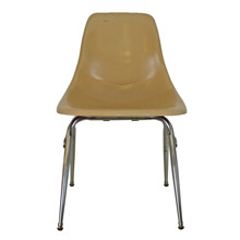 Mustard-Colored Fiberglass Shell Chair W/ Chrome Base C1960
