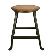 Industrial Workshop Stool w/ Oak Seat C1920