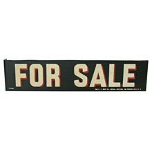 NOS For Sale Sign w/ Mounting Flange C1950