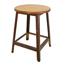 Wood Shop Classroom Stool w/ Plywood Seat C1960