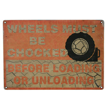 Chocked Wheels Truck Stop Signs C1955