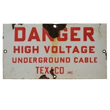 Porcelain Enamel Texaco Danger Sign C1940