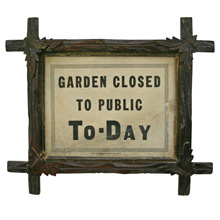 Garden Closed Sign in Tramp Art Frame C1930