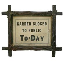 Garden Closed Sign in Tramp Art Frame C1930