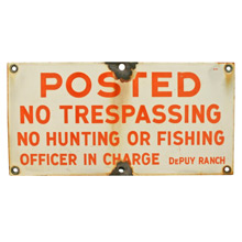 Orange and White Enamel No Trespassing Sign C1945