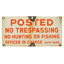 Orange and White Enamel No Trespassing Sign C1945