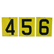 Set of Three Enamel Gas Station Sign Numbers C1965