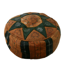 Moroccan Leather Pouf C1965