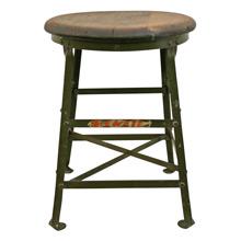 Industrial Workshop Stool w/ Oak Seat C1920