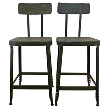 Pair of Industrial Lyon Stools w/ Back Rests C1925