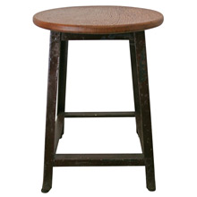 Industrial Workshop Stool w/ New Oak Seat C1950