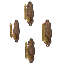 Set of Ornate Dual-Toned Wall Hooks W/ Eastlake Motif Pat. 1871