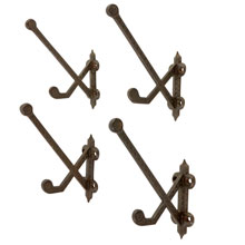 Set Of 4 Cast Iron Eastlake Coat Hooks C1880