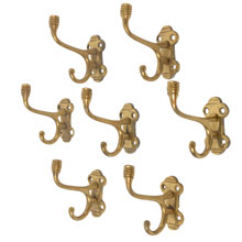 Set of 7 Brass Wall Hooks W/ Beehive Motif C1925