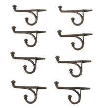 Set of 8 Button-Tip Cast Iron Hooks W/ Integral Screw C1900