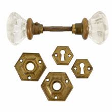 Hexagonal Glass Door Knob Set W/ Rosettes and Escutcheons C1920