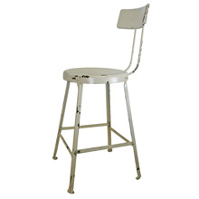 Industrial Workshop Stool W/ White Painted Finish C1925