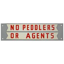 Mid-Century NOS No Peddlers Sign c1965