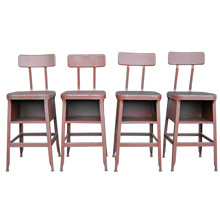 Set of 4 Industrial Lyon Stools w/ Masonite Seats c1925