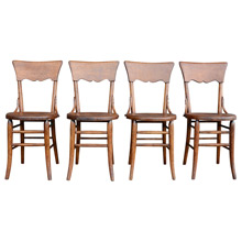Set of 4 Carved Oak Dining Chairs c1930
