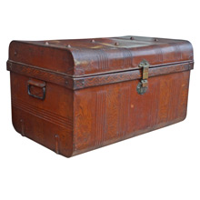 Tin Trunk w/ Faux Wood Grain Finish c1920s