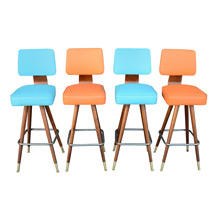 Set of Four Atomic-Age Kitchen Stools W/ Tapered Walnut Legs C1950s