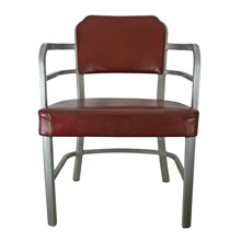 Aluminum and Red Vinyl Armchair by GoodForm c1947
