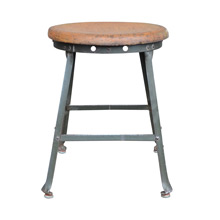 Early Industrial Factory Stool W/ Oak Seat C1910