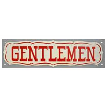 Mid-Century NOS Gentlemen Sign in Grey c1965