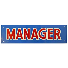 Mid-Century NOS Manager Sign in Blue c1965