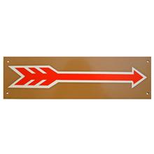 Mid-Century NOS Red Arrow Sign in Tan c1965