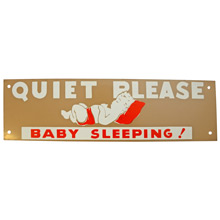 Mid-Century NOS Baby Sleeping Sign in Tan and Red c1965