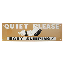 Mid-Century NOS Baby Sleeping Sign in Tan and Black c1965