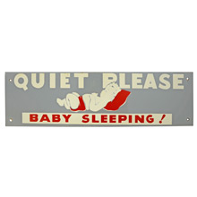 Mid-Century NOS Baby Sleeping Sign in Grey and Red c1965