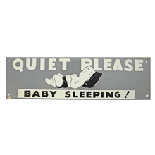 Mid-Century NOS Baby Sleeping Sign in Grey and Black c1965