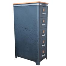 Art Deco Filing Cabinet w/ New Wood Top c1930