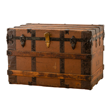 Oak and Metal Steamer Trunk Marked LB c1915